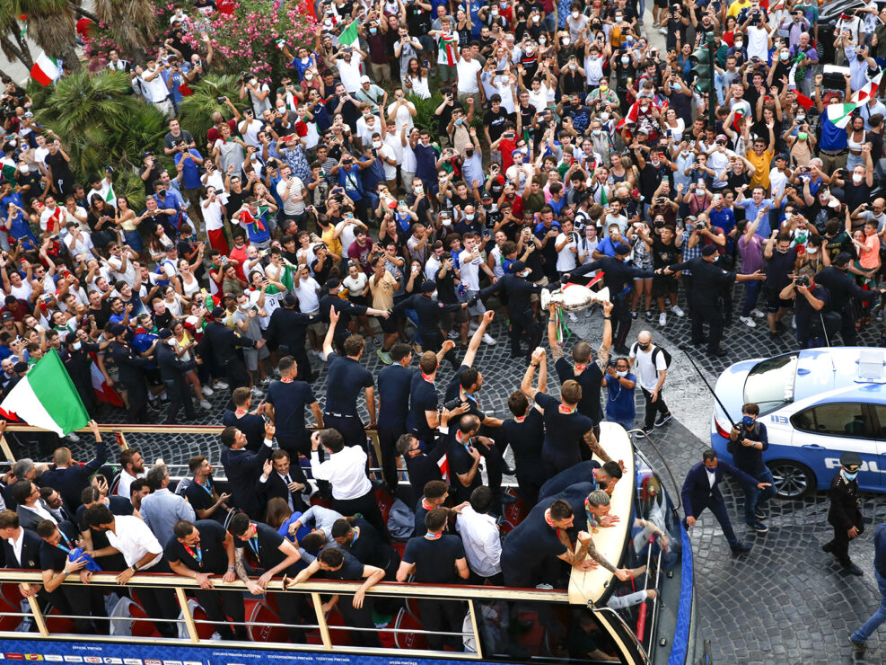 The Italy team drive through Rome on a open top bus tour after they won Euro 2020 - Rome, Italy - July 12, 2021