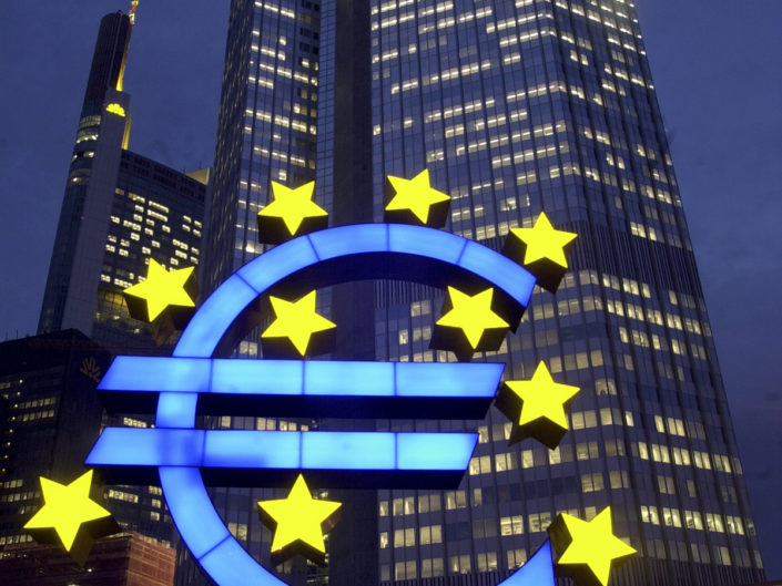 La sede della Banca Centrale Europea di Francoforte. Febbraio 2004.