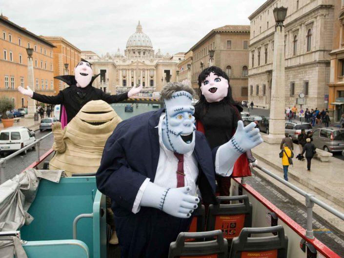"""Giro promozionale per il lancio del film """"Hotel transylvania"""" a Roma, 31 ottobre 2012."""
