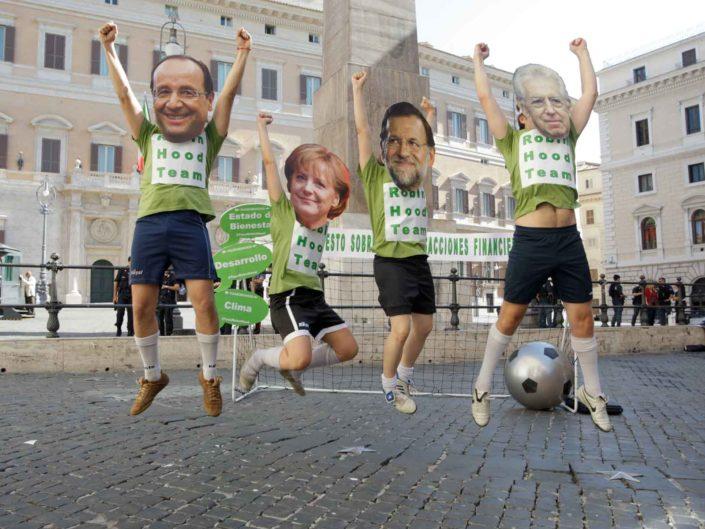 """Campagna """"zero zero cinque"""" contro i leader europei di fronte al Parlamento. Roma 22 giugno 2012"""
