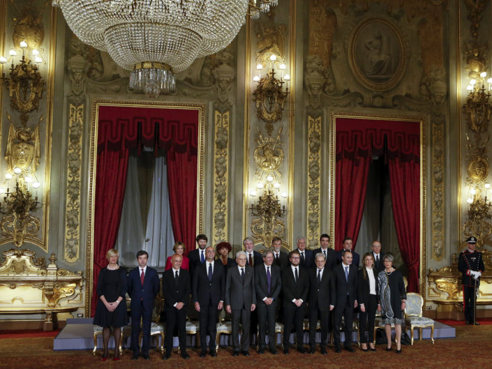 Cerimonia di giuramento del nuovo Governo Gentiloni, al Quirinale. Roma 12 dicembre 2016.
