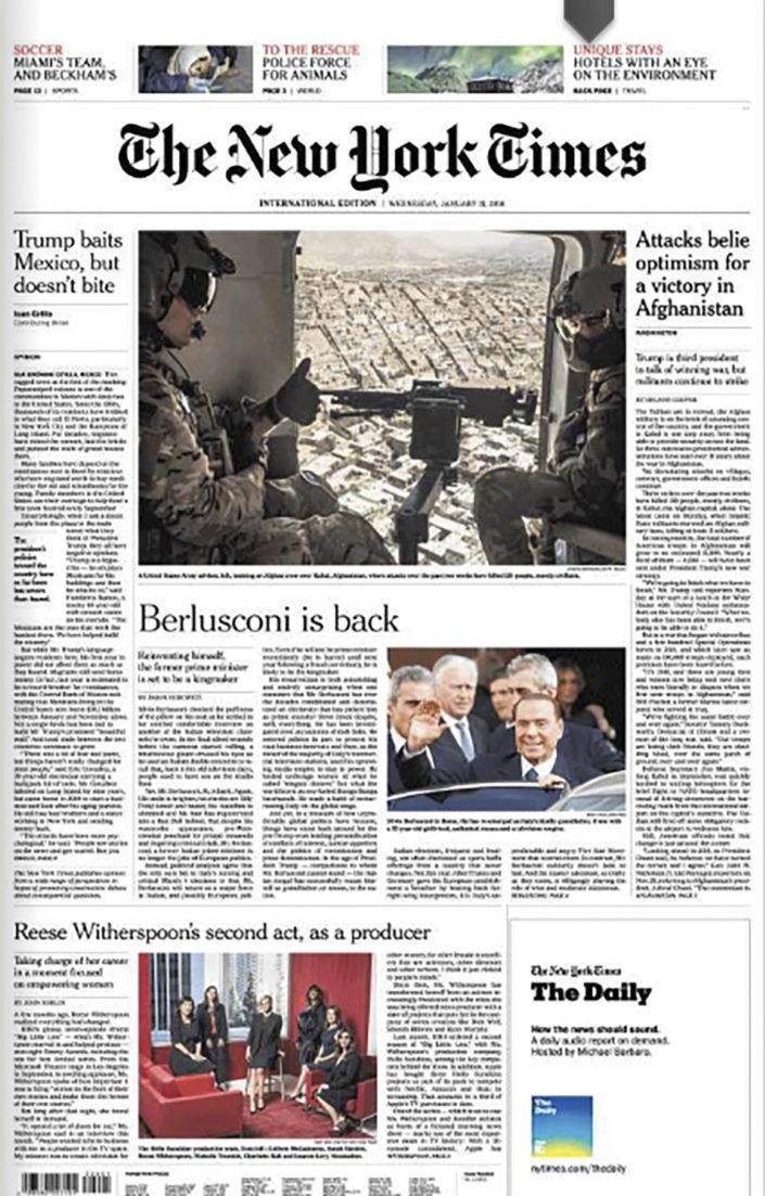 Copertina New York Times