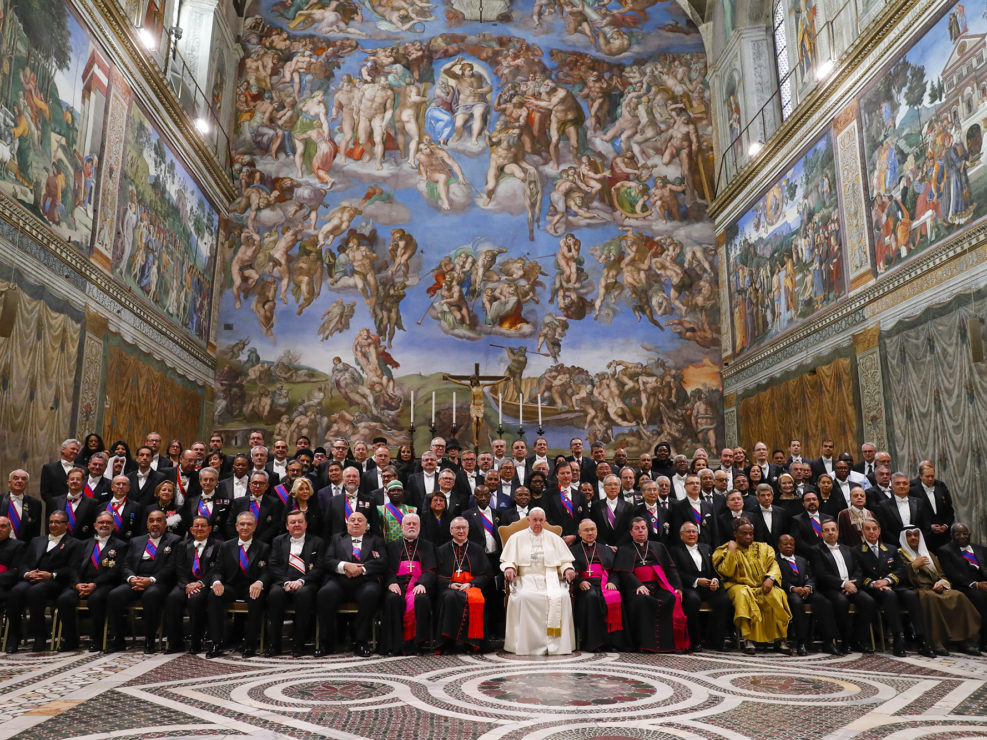 Papa Francesco incontra il Corpo diplomatico per gli auguri di buon anno, nella Cappella Sistina. Vaticano, 9 gennaio 2020