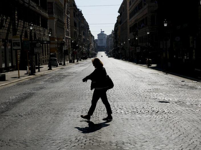 Via Nazionale deserta per il Coronavirus (Covid-19), Roma 7 Aprile 2020