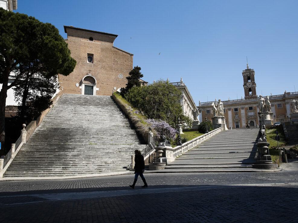 Le scalinate dell'Ara Coeli e del Campidoglio deserte a causa del Coronavirus (Covid-19), Roma 7 Aprile 2020.